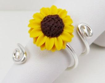 3 Loop Sunflower Ring - Sterling Silver Sunflower Ring, Yellow Sunflower Ring, Sunflower Adjustable Ring, Sunflower Gift, Flower Jewelry