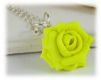 Neon Yellow Rose Necklace - Fluorescent Yellow Jewelry
