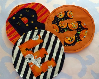Your Initial in a Colorful Halloween Sewn Fabric Applique