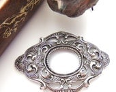 SILVER Large Oval Scroll Filigree Stamping - Jewelry Antique Silver Findings (C-1005)