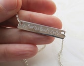 ON SALE Coordinates Bar Necklace Custom Made Necklace Personalized Jewelry Roman Numerals Name Plate Necklace
