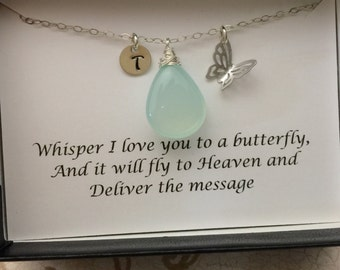 Butterfly Necklace with Message Card  Personalized Stone Necklace, Birthstone Jewelry, Sterling Silver, Bridesmaids Party Necklace, Bridal