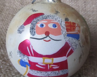Vintage 1950's Large Santa Christmas Ornament, Made In Poland, Ships Worldwide