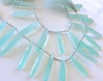 Light aqua blue faceted chalcedony drops WHOLESALE PRICE 15.00