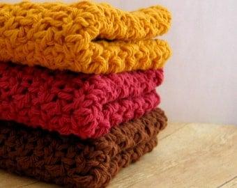 Set Of 3 Crochet Dishcloths, Cotton Washcloths, Gold, Country Red, Brown, Crochet Wash Cloths, Eco Friendly Dish Cloths