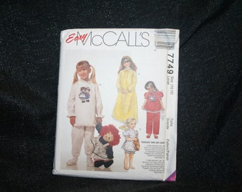 VINTAGE, New, Uncut, Factory Fold,  McCall's 7749 Raggedy Ann and Andy Girl's Pajama, Sleepwear Sewing Pattern, Size Large 10-12,  SEWBUSY12