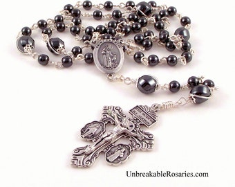 Pope Francis | St Francis Rosary Beads In Gray Hematite With St Benedict Pardon Crucifix by Unbreakable Rosaries