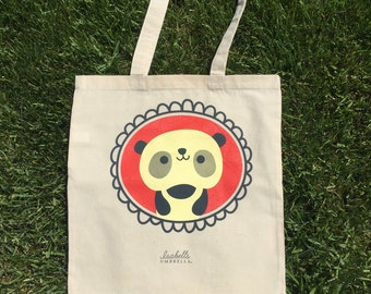 Panda Tote Bag : Book bag, grocery tote, library bag