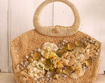 Vintage Shell Flowers straw bag basket