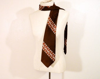 Vintage 60s Wide Tie, Van Gogh brand, Poly, Mad Men, Paisley, Warm Fall Colors, Wide Tie, Unique, Long, Earth tones, Use as a scarf!