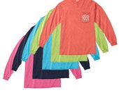 Monogrammed Comfort Colors Long Sleeve Pocket Tee by Just for Me Sewing