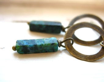 Turquoise Earrings, Turquoise Stone Hoop Dangle Drop Earrings, Turquoise Handmade Metalwork Artisan Earrings Jewelry