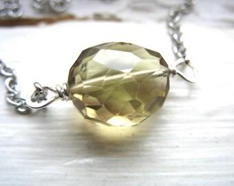 Smoky Quartz Necklace, Faceted Smoky Quartz Gemstone Necklace, Smoky Quartz Gemstone Chain Strand Necklace