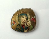 Vintage Brooch Fashioned from a Handpainted Eyeglass Lens - Image of Mary and Jesus - very unique