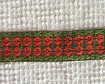 Vintage Woven Embroidered Trim - Green and Orange - Perfect for Fall - 2 yards