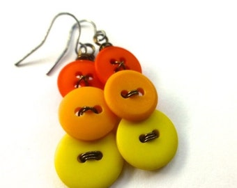 Christmas in July Sale Bright Yellow and Orange Vintage Button Earrings - Warm Color Ombre