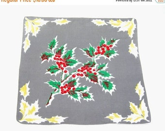 Vintage Christmas Handkerchief, Cotton, Green Holly Branch, Red Berries, Gray Background, Hand-Rolled Edges, 12 Inches Square