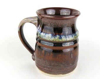 Stoneware Mug - 14 oz. - Coffee Cup - Black/brown, White