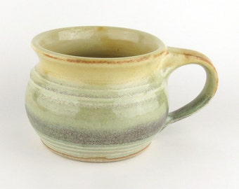 Soup Mug / Soup Bowl - Yellow Salt / Pale Green/  handmade wheel thrown pottery