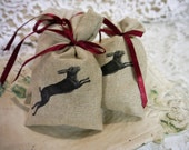 French Lavender Sachet  - Beige Linen  with Leaping Hare Transfer - Handmade