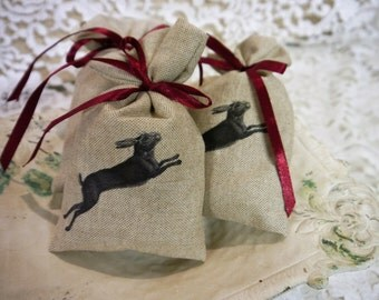 French Lavender Sachet  - Beige Linen  with Leaping Hare Transfer - Handmade
