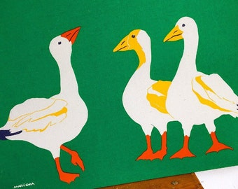 Silly Goose... Vintage Mid-Century Modern MARUSHKA Silkscreen Print of Geese Goose Ducks on Stretched Canvas