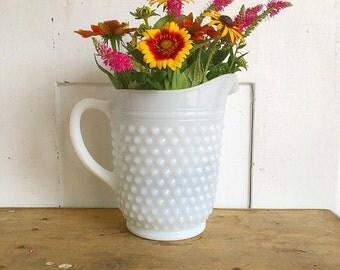 Vintage Large Sized White Hobnail Milk Glass Pitcher Vase Farmhouse Decor