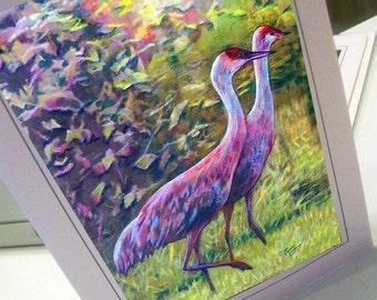 greeting card print of drawing  crane couple