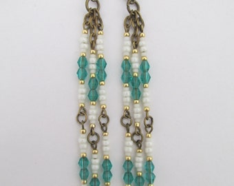 Seed Bead Dangle Earrings - Emerald Green