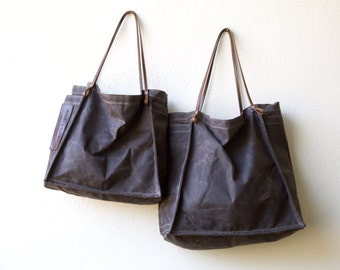 FARMERS MARKET TOTE - espresso waxed canvas with leather straps - ships today