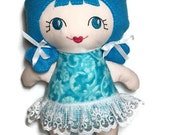 Teal Print with Lace Trim Cloth 11 Inch Doll