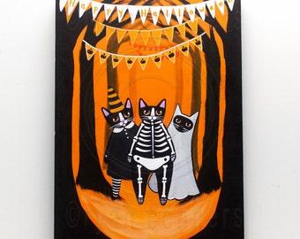 Halloween CATS in Costume Original Halloween Cat Folk Art Painting