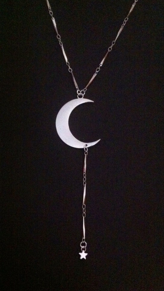 Stevie Nicks Inspired Lariat Necklace Crescent Moon And Star