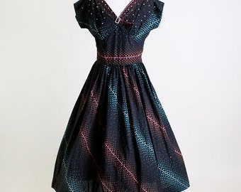 ON SALE Vintage 1950s Dress - Rhinestone and Pearl Black Swirl Cotton Day Dress - Medium