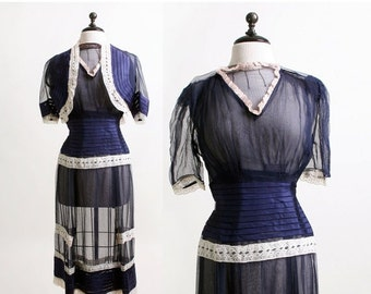 ON SALE 1940s Sheer Dress - Dark Navy Blue and White Lace Dress and Coat Blouse - Small