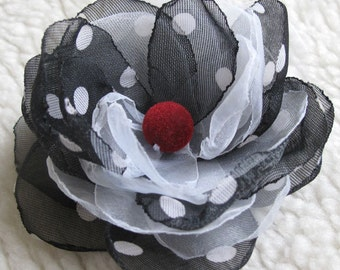 Fabric tulle flower, white- black dotted tulle  brooch, flower embellishment velvet bead