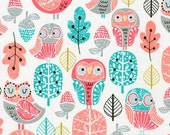 Acorn Forest Fabric, Woodland Animal, Bird Fabric, Acorn Forest Owl Fabric by Robert Kaufman- Choose the cut. Free Shipping Available