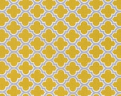 Cotton Fabric by the Yard, Moroccan Tile, True Colors, Quilt fabric, Mustard Yellow fabric, Trellis in Straw by Dewberry, Choose your cut