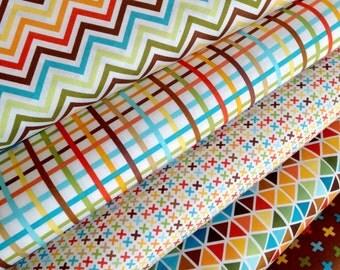 Boy Fabric, Plaid fabric, Cotton Fabric by the Yard, Rainbow Remix fabric, Ann Kelle for Kaufman- Fabric Bundle of 5, Choose the cut