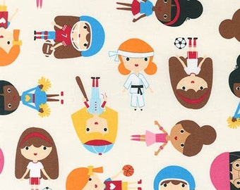 Sport Kids, Girl Fabric, Soccer fabric, Baseball fabric, Ballet fabric, Karate fabric, Ann Kelle, Sports Girls in Park, Choose Your Cut