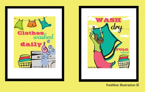 Laundry Room Art - Laundry Room Decor - Set of Two Laundry Room Art Prints