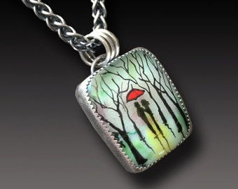 Enamel on Fused Glass Pendant Sterling Silver