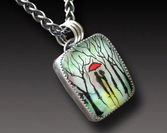 Enamel on Fused Glass Pendant Sterling Silver