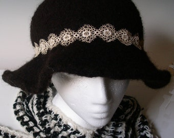 ELEGANCE in BLACK and GOld - Woman's  Floppy brimmed hat - 100%  ALPACA - Japanese Mokuba Ribbon - handspun, hand knit,  hand felted.