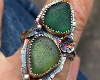 Green Sea Glass Artisan Ring