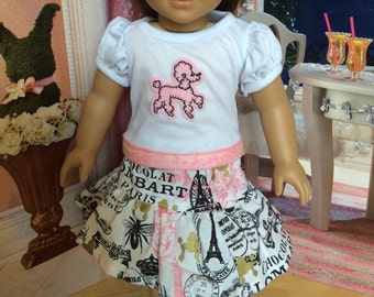 18 inch doll clothes, Doll Paris and Poodle set with glitter Bow headband, Doll Poodle Shirt, Doll Paris tutu skirt by Sweet Pea Kidz