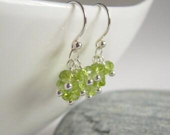 Peridot Earrings, Birthstone Jewelry, Peridot Cluster Earrings, Sterling Silver, Green Gemstone