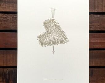 Falling Heart letterpress print