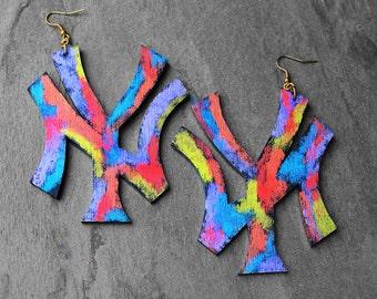 New York Earrings, Wood Earrings, NYC, Urban Earrings, Big Wood Earrings, Colorful Earrings, Repping New York Colorful Wood Earrings