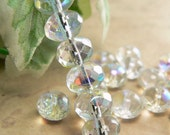 Crystal AB Czech Glass Beads Rondell Transparent 6x9mm Gemstone Donut  Spacers (25)